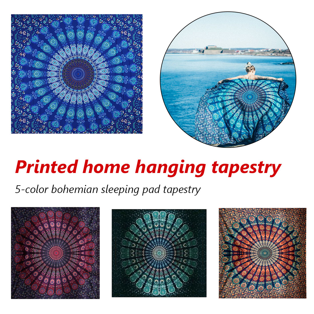 Indian Mandala Tapestry Hippie Home Decorative Wall Hanging Bohemia Beach Mat Yoga Mat Bedspread Table Cloth 150x130cm 150x205cm in Tapestry from Home Garden