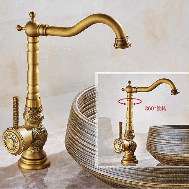 Carving Antique Kitchen Faucet With Single Handle Deck Mounted Gold