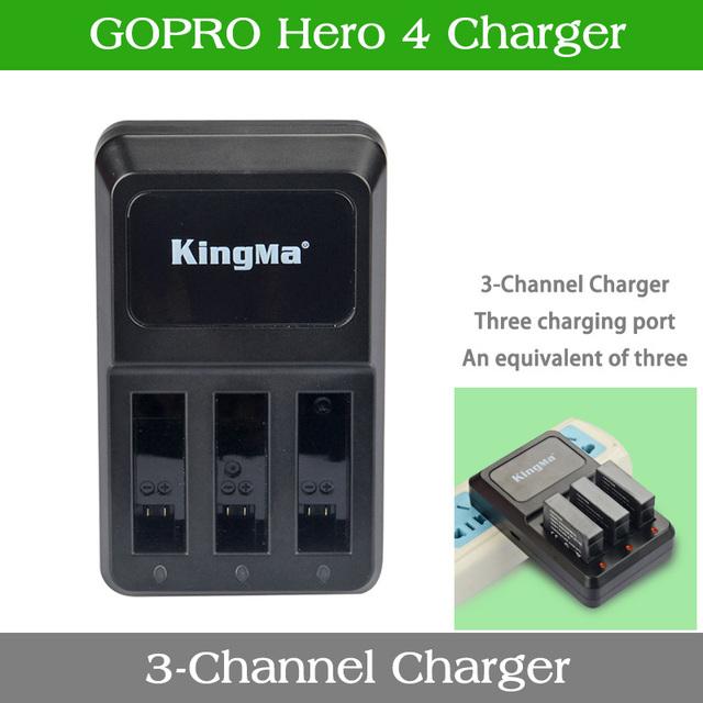 KingMa gopro4 tres Cargador HERO4 Negro HERO4 Plata AHDBT-401 Cargador de Batería Envío Gratis