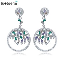 LUOTEEMI Wholesale Rhodium Plated Luxury Artificial Multi CZ Zircon Dangle Earrings For Women Brincos Bijoux Wedding Jewelry