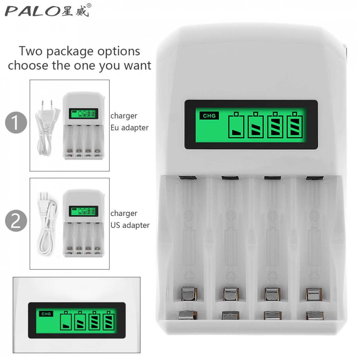 PALO Battery Charger 4 Slots LCD Display Intelligent Quick Battery Charger for AA / AAA / NiCd NiMh Rechargeable Batteries