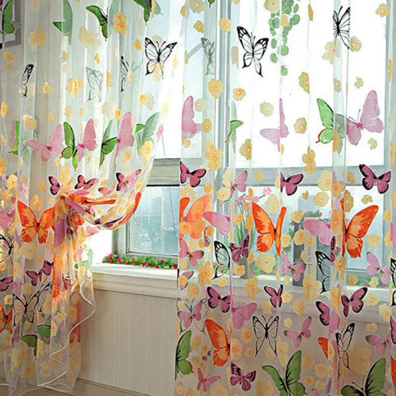 Butterfly Print Sheer Curtain Panel Colorful Window Balcony Tulle Room Divider Low Price Wholesale China