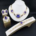 Boda Joyería Nupcial Conjuntos de Cristal Para Las Mujeres de Moda Colgante Chapado En Oro de Señora Rhinestone Collar Llamativo Traje Pendientes 16