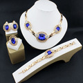 Wedding Bridal Crystal Jewelry Sets For Women Fashion Gold Plated Pendant Lady Rhinestone Costume Statement Necklace Earrings 16
