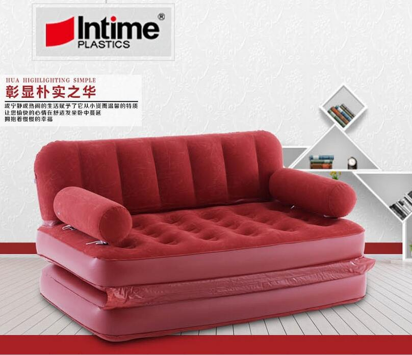 5 in 1 inflatable sofa bed flocking inflate sofa bed double bed folding sofa double inflated lounge chair,red large relax lounge цены
