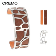 Cremo Giraffe Stainless Steel Bracelets Bangles Coktail Personalized Interchangeable Reversible Leather Hollow Pulseira