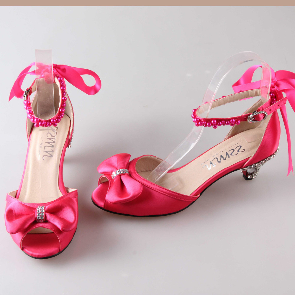 Aliexpress.com : Buy Fashion hot pink med low heel sandals D'orsay ...