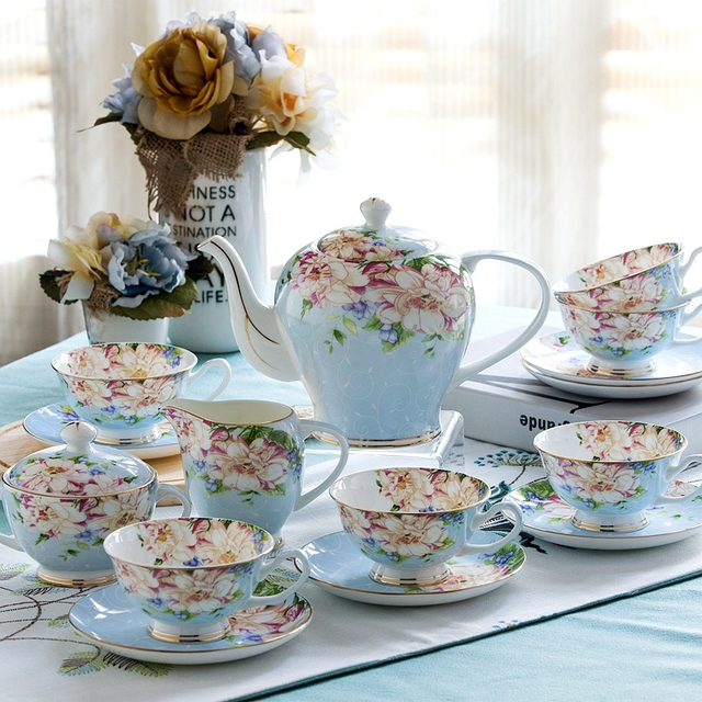 21piece Set Delicate Bone China Coffee Cup European Vintage Tea