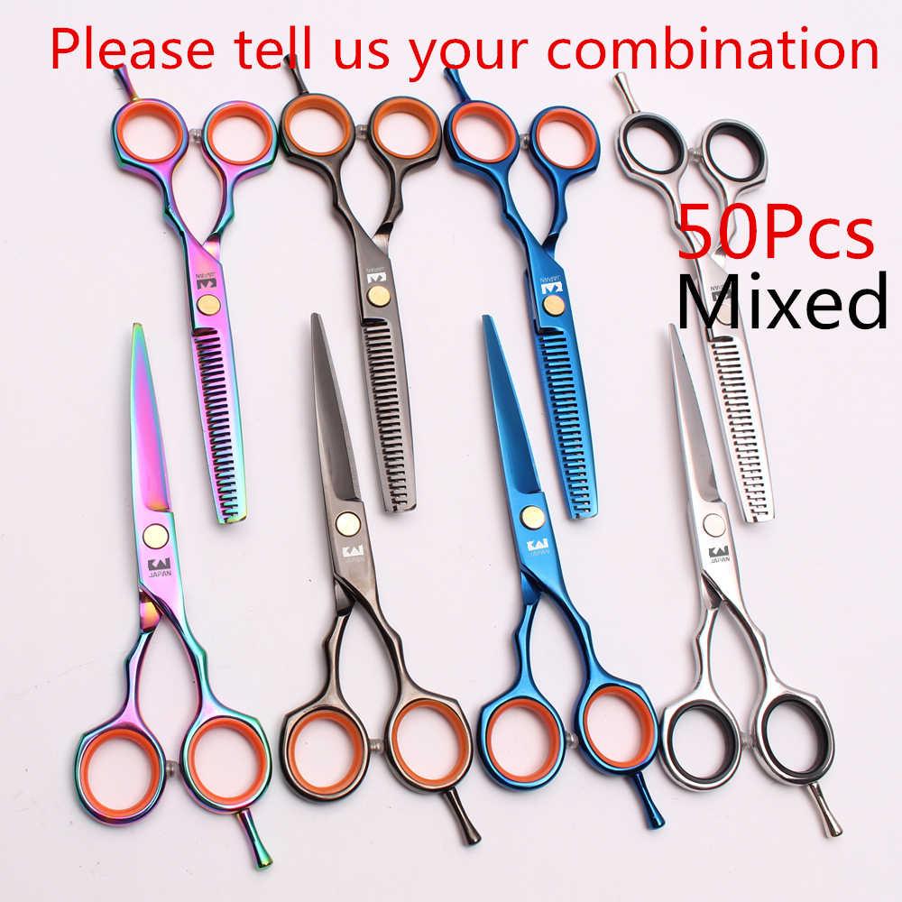 50 шт. 5 &quotJP нержавеющей Kasho Оптовая Продажа парикмахерские ножницы истончение
