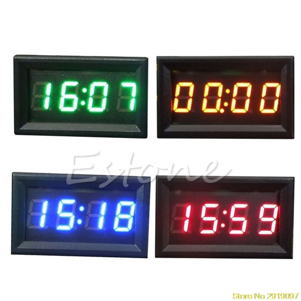 Tonsee Car Motorcycle Accessory 12V/24V Dashboard LED Display Digital Clock Lighting & Electrical Blue