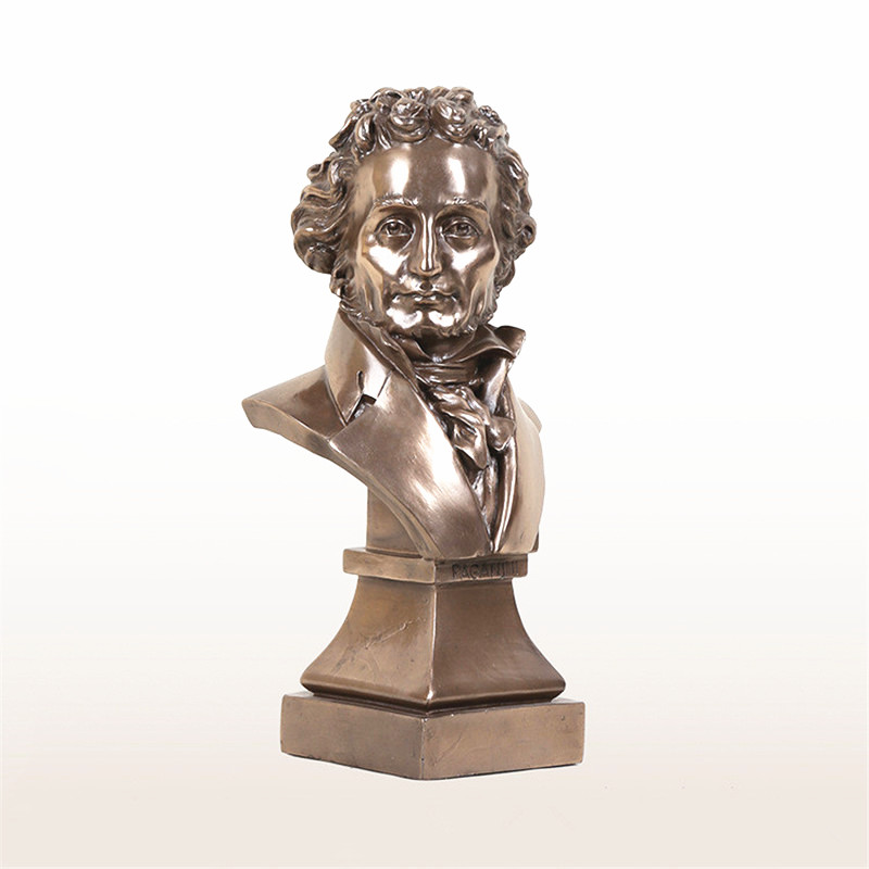 Classical Celebrity Niccolo Paganini Statue Imitation Cuprum Head Portra Resin Craftwork Home Furnishing Articles G1313 the walking dead action figure zombie figures head resin crystal car ornament home desk decoration furnishing articles
