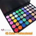 2017 hot 45 paleta de sombra de ojos a todo color brillo profesional de maquillaje mate paleta de sombra de ojos set