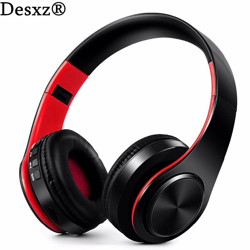 Desxz Earphone Wireless Bluetooth Headphones Earbud over ear Foldable With Microphone TF Slot Bass earphones For phone headset headphones blutooth 4 1 wireless foldable sport earphone microphone headset with tf card slot mp3 player music earphone earpiece