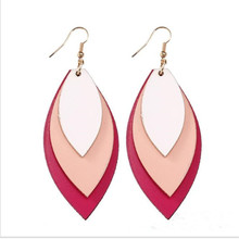 Bohemia Teardrop Sequins Leather Earrings For Women Three Layer Leaf Glitter PU Fashion Jewelry Gifts Wholesale