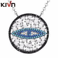 KIVN Jewelry Turkish Blue Eye Cubic Zirconia Bridal Wedding Pendant Necklaces For Women Girl Birthday Gifts