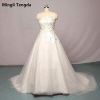 Mingli Tengda High Quality Lace A line Wedding Dresses Applique Bridal Gown Real Picture O Neck Wdding Dress Vestido De Noiva