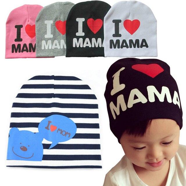 Hiver bébé garçon fille chapeaux J aime MAMA PAPA hiver coton bébé chapeau  enfants beanie 819627a6805
