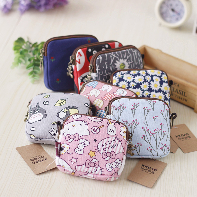 2pcs a lot Cartoon Cute Small Coin Purse Hellokitty Totoro Canvas Zipper Girls Money Change Coin Wallet Bag with Bear Pendant