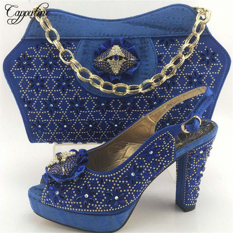 Фото Capputine Nigerian Style Shoes With Bag Sets High Quality African Rhinestone High Heels Shoes And Bag Set Size 38-42 ME7713