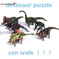 MIRABBIT 6pcs Set Can Move Dinosaur 3d Puzzle Paper Material Clockwork Toy Jigsaw Puzzle Educational Games