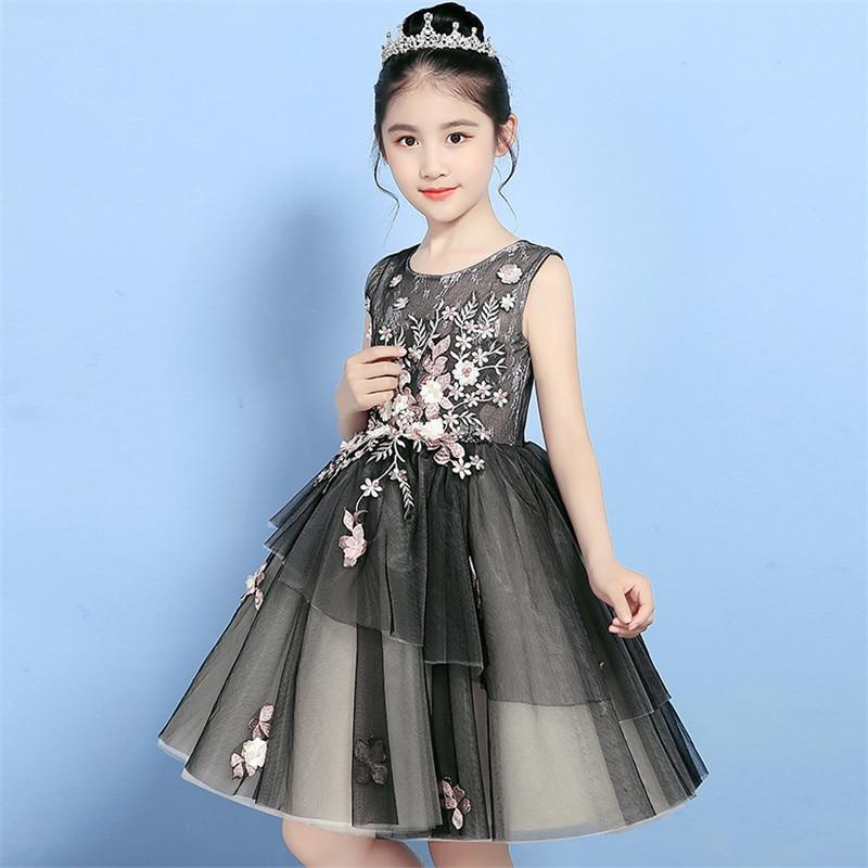 Enfants filles 2018 nouvelle mode couleur noire broderie fleurs princesse anniversaire soirée robe enfants bébés robe de bal