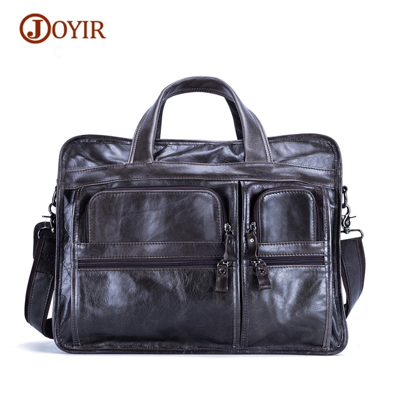 JOYIR Genuine Leather Briefcase Business Leather Laptop Bag Male Tote Bag Large Men's Handbags Shoulder Bags Men Messenger Bags mva business men briefcase handbags leather laptop bag men messenger bags genuine leather men bag male shoulder bags casual tote