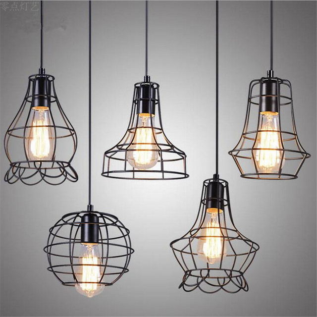 E27 retro pendant lamps vintage pendant light led abajur for Suspension luminaire cage