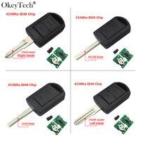 Okeytech HU100 Uncut Blade 2 Button Remote Car Key 433Mhz ID40 Transponder Chip For Opel Vauxhall