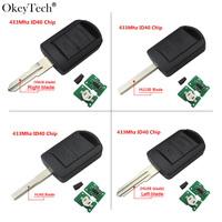 Okeytech hu100 Uncut Blade 2 botón remoto Llaves para coches 433 Mhz id40 transponder chip para Opel Vauxhall corsa C meriva Tigra combo