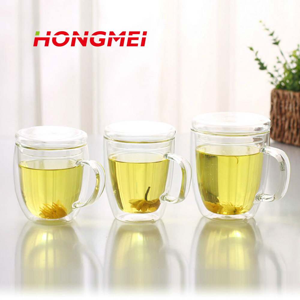1PCS Double Wall Glass Coffee Set Cup Lid Clear Resistant Handmade Kung Fu Double Wall Glass