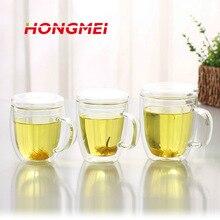 1 STÜCKE Doppelwandigen Glas Kaffee-set Tasse + Deckel Klare beständig Handgemachte Kung Fu Doppelwandigen Glas Tee Kaffeetasse tasse