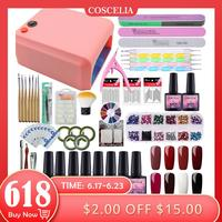 COSCELIA Manicure Set 36W UV LED Lamp And Gel Polishes Set For Nail Art Kit Gel Varnish Nail Polish Set Dryer Machine Tools