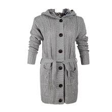 Женский длинный кардиган, свитер, Женский однотонный с карманом, импортные товары, с капюшоном, вязанные женские свитера, Vestidos MMY69215