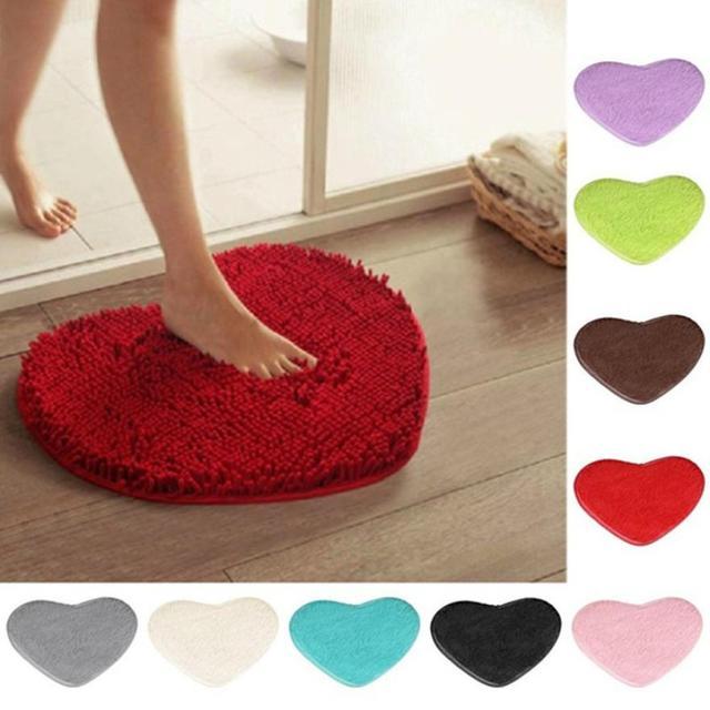High Quality 40*28cm Heart Absorbent Non-slip Bath Mats Coral Fleece Bathroom carpet kitchen Door Floor Mat Carpet Toilet Decor