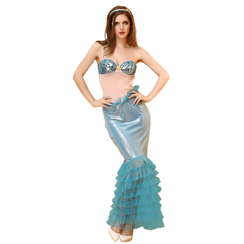 Princess Ladies Halloween Cosplay Costume Fancy Party Sequins Maxi Tail long green Skirt Adult Little Mermaid