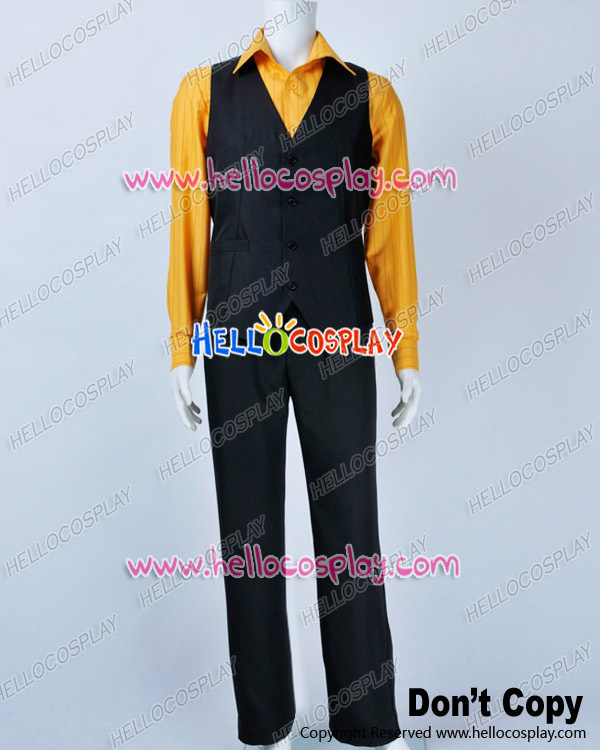 One Piece Cosplay Sanji Costume Stripe Orange Shirt H008