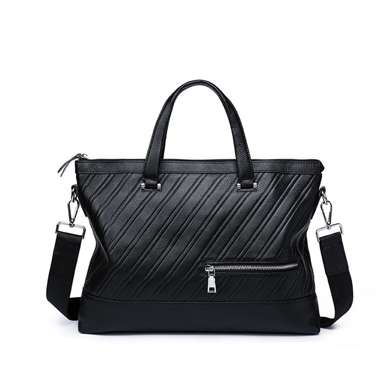 Genuine Leather Business Casual Briefcases Men Big Easy Laptop Stripe For 14 Inch Handbag Fashion Computer Messenger Bags