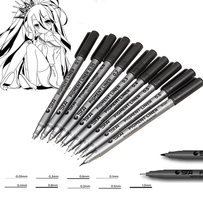 Line Art Pens : Sta micron pen assorted nib size micro line ultra fine