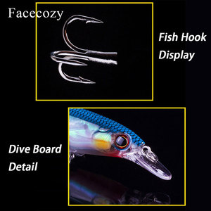 Image 5 - Facecozy 1Pc Luminous Bionic Bait Fishing Lures with Two Eagle Claw Hooks Artificial Bait 8 11CM CrankBait  High Rate Minnow
