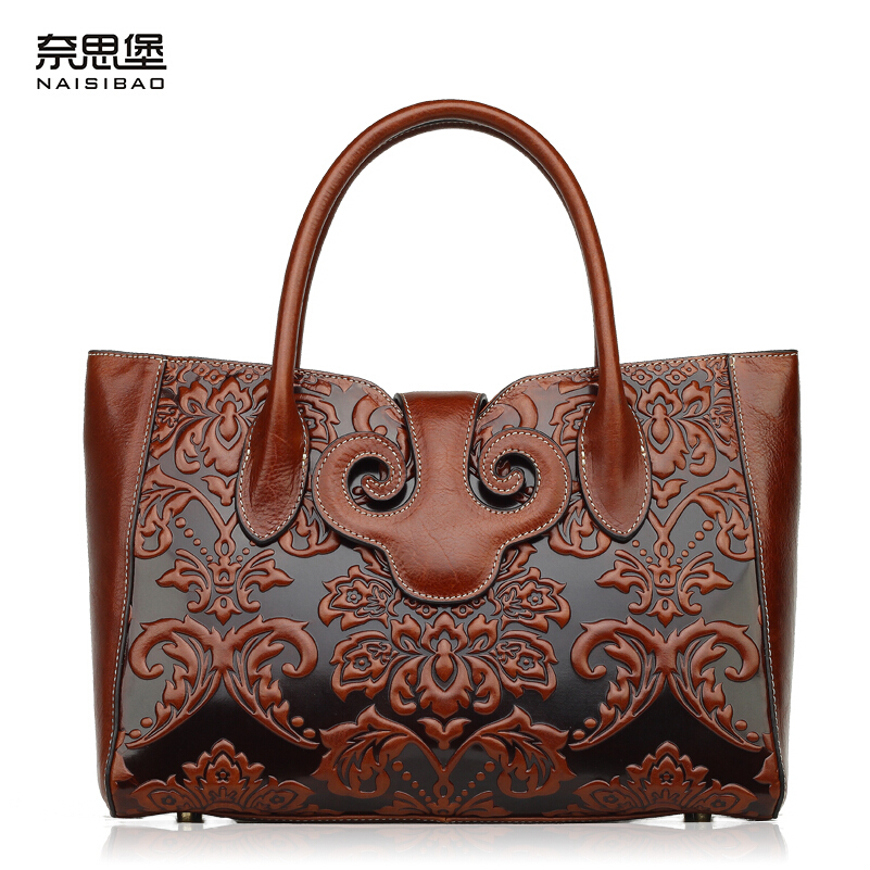 Famous brand top quality Cow Leather women bag  2015 new retro Chinese style handbag Embossed shoulder Messenger Bag