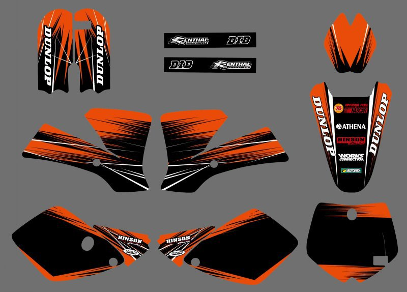 0523 NEW STYLE (Black & Orange)TEAM GRAPHICS & BACKGROUNDS DECALS STICKERS Kits for KTM 65 SX 2002 2003 2004 2005 2006 2007 2008