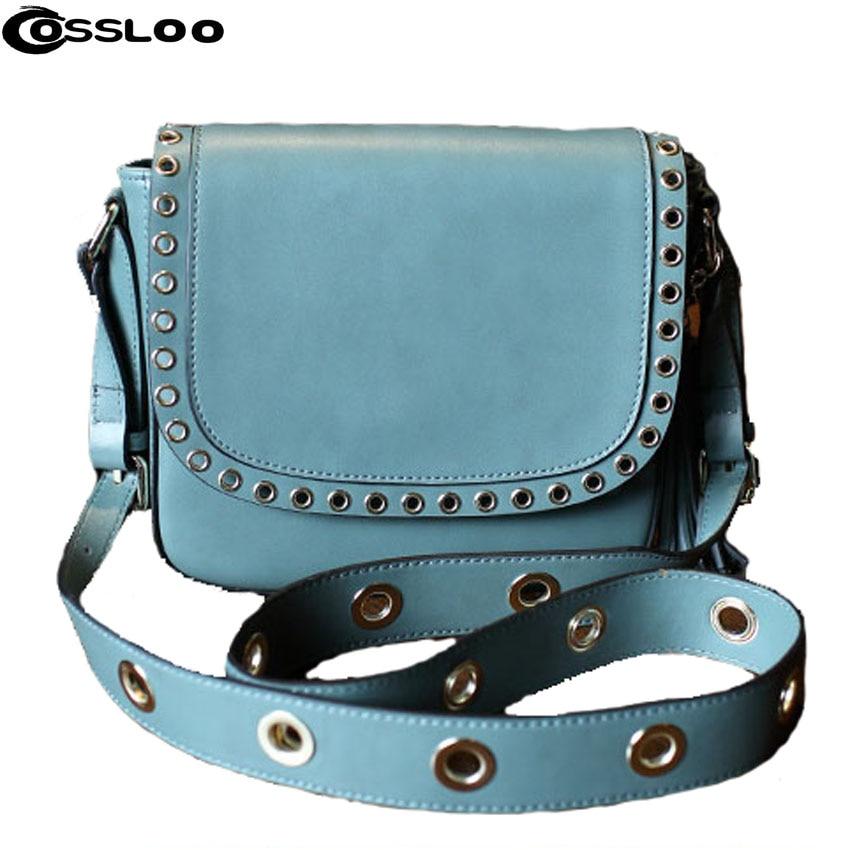 COSSLOO Famous Brand Women Messenger Bag Chains Leather Women Shoulder Bag Vintage Small Flap Bolsas women messenger bags flap