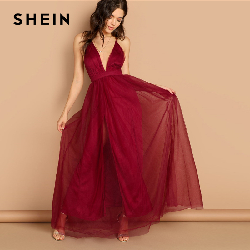 785368e9f1 SHEIN Burgundy Plunging Neck Crisscross Back Cami Dress Maxi Plain Sexy  Night Out Dress Autumn Modern Lady Women Party Dresses-in Dresses from  Women's ...