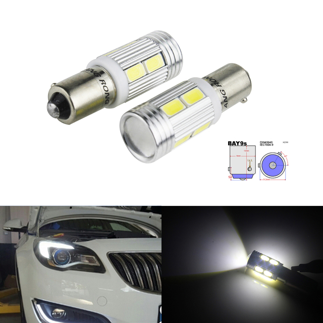 ANGRONG 2x 435 H21W BAY9s 10SMD Xenon White LED Bulb Indicator Reverse Side Light Lamps