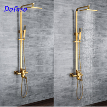 цена на Dofaso brass Shower Faucets Luxury Gold Bathroom Rainfall Shower Faucet Set Mixer Tap with square tube and head shower set