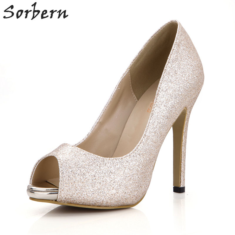 Sorbern Gold Glitter Women Pump High Heels Gold Shoes Heels Bridal Shoes Heels Platform Open Toe Pumps Women Shoes Custom Color 2016 gold led shoes women