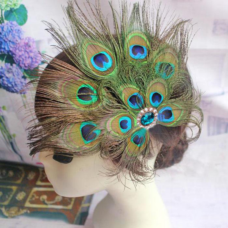 Peacock Feather Hair Clip Fascinator Hairpin   Headwear   Cocktail Party Peacock Feather Headdress Hair Accessories Chapeu Feminino