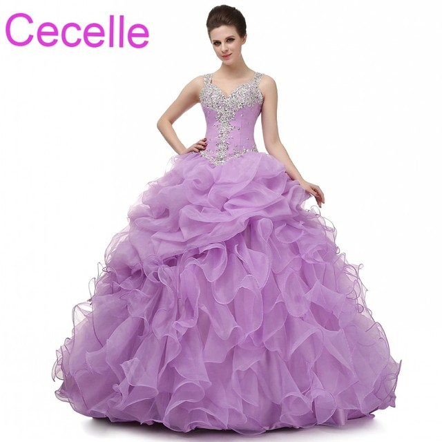 d3c2755d1e Lilac Ball Gown Prom Dresses 2019 With Straps Beaded Ruffles Organza Teens Formal  Prom Party Gowns Princess Dress Real Photos