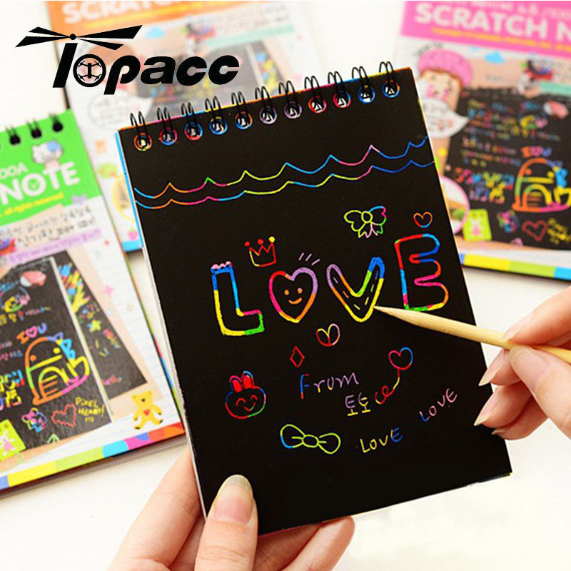 Drawing Paper DIY Paint Children Educational Craft Toys New Fun Doodling Scratch Painting Kids Colorful Paper With Wood Stick