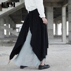 [EAM] تنورة جديدة من موديلات خريف 2020 مطرزة بخيوط متدلية من النوع القديم تنورة نصف الجسم فضفاضة للنساء من المد طراز YA35001